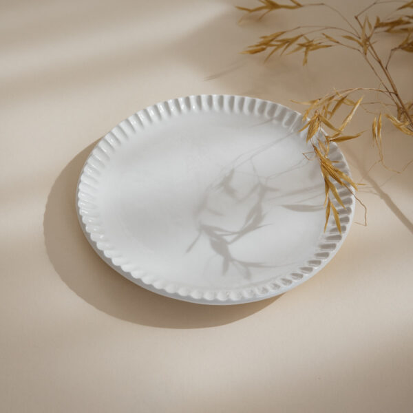 Petals White Ceramic Plate