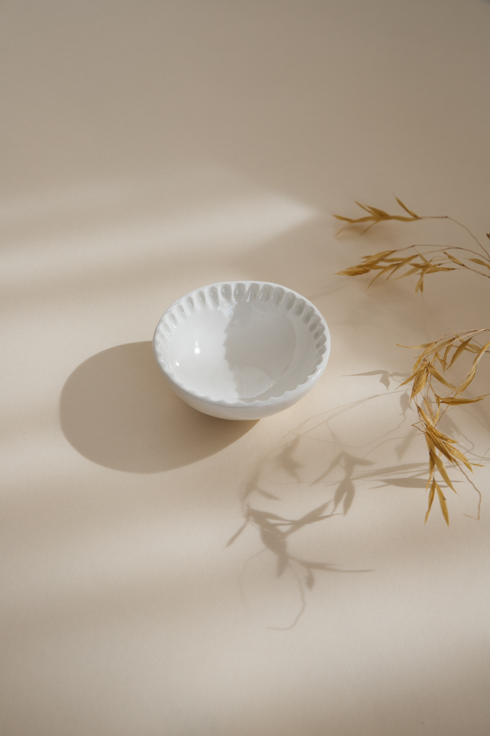 Petals White Ceramic Mini Bowl