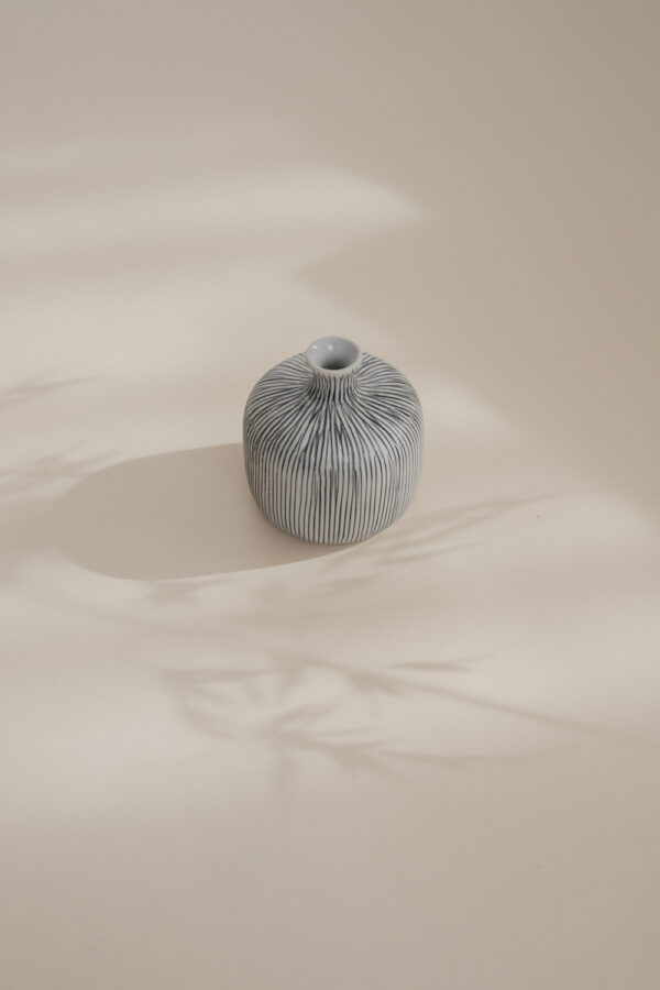 Bottle Small Ceramic Vase - Striped