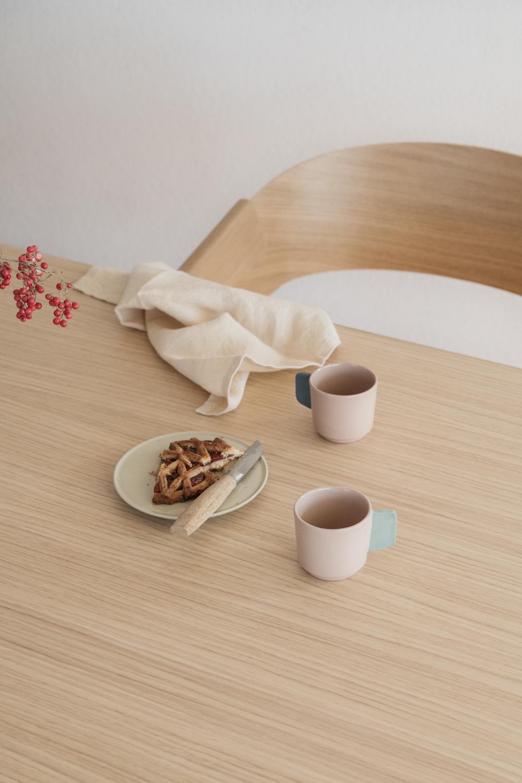 Handmade Porcelain Espresso Cup - Blush & Blue