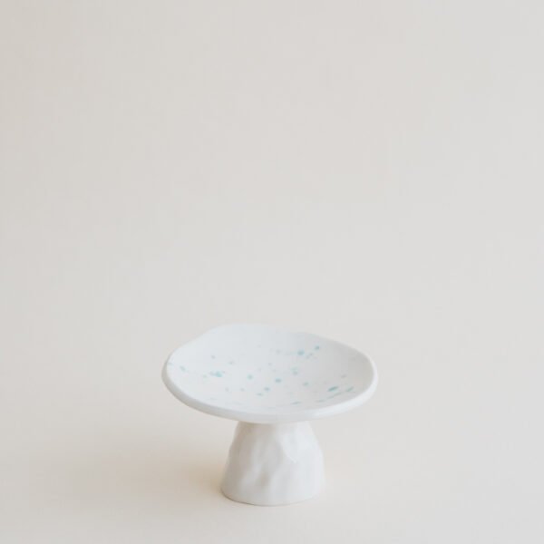 Small Handmade Ceramic Cookie Stand - Mint Dots