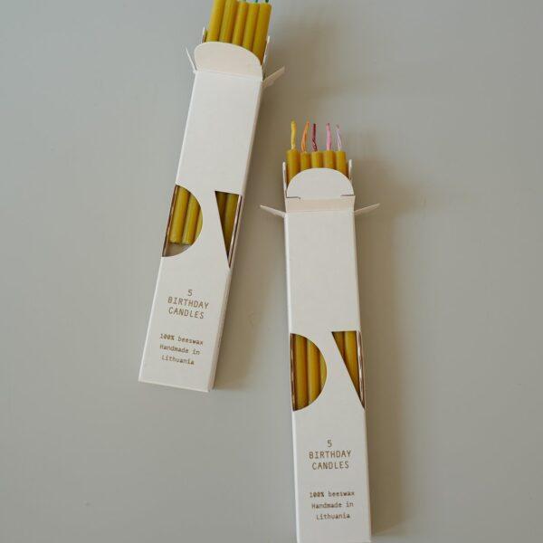 Beeswax Birthday Candles - 5 pcs