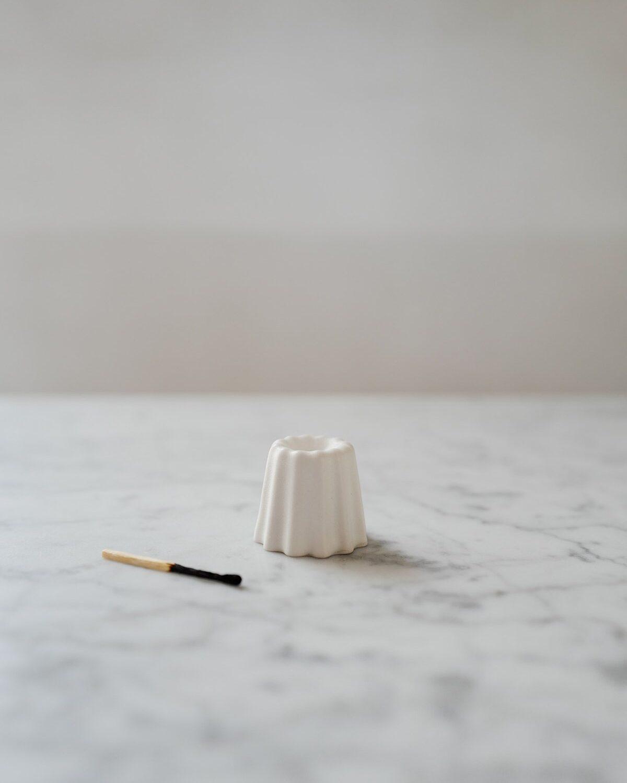 Canele Porcelain Candle Holder - White