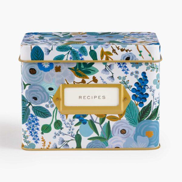 """Rifle Paper Co. """"Garden Party Blue"""" Tin Recipe Box"""
