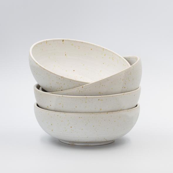 Speckled White Handmade Ceramic Bowl