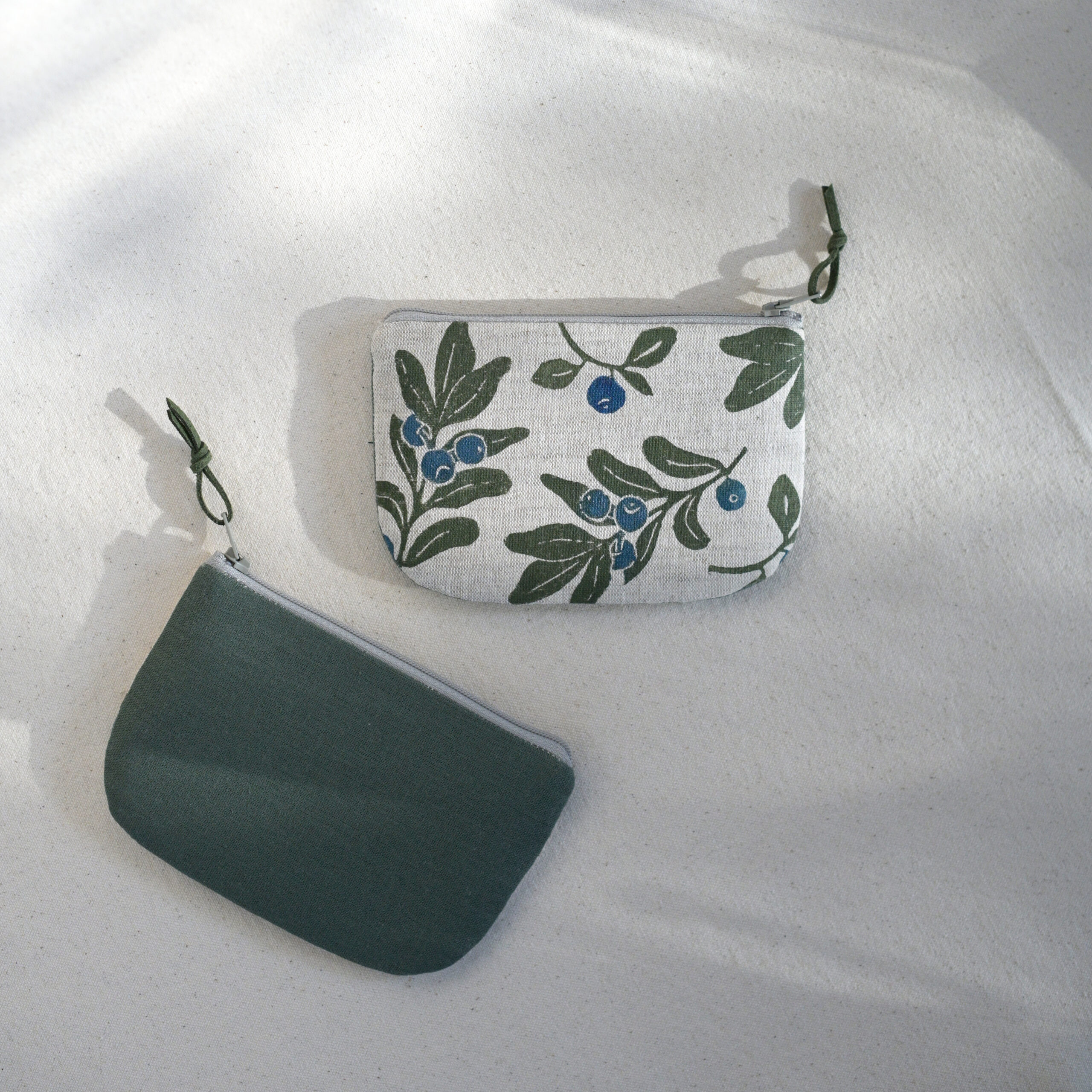 Blueberry Hand-Printed Linen Wallet