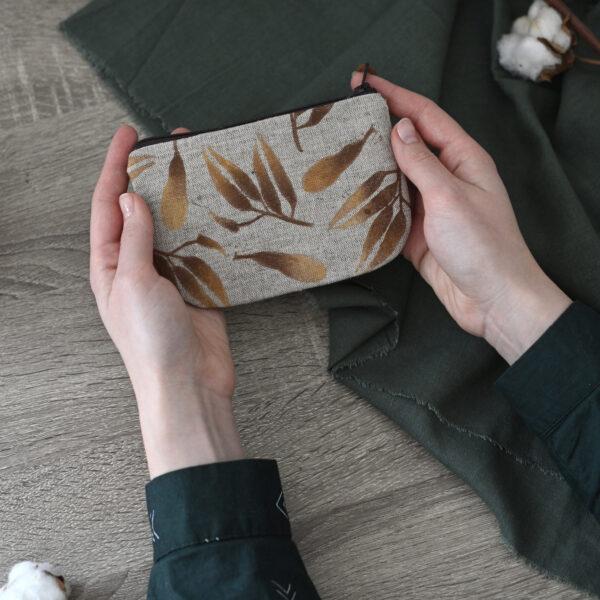 """Gold Botanics"" Hand-Printed Linen Wallet"