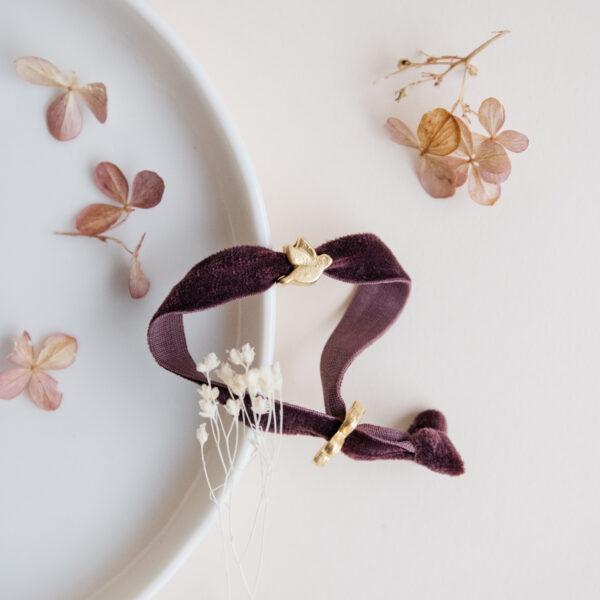 Velvet Bird Bracelet - Burgundy