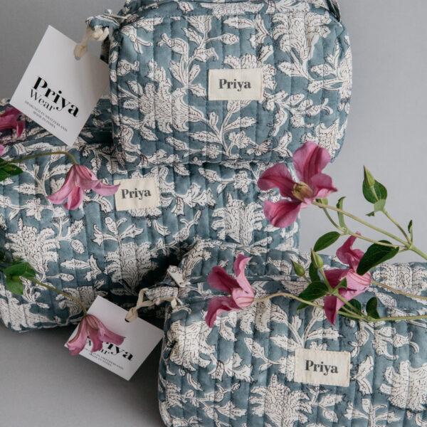 Priya Smoky Blue Large Beauty Bag