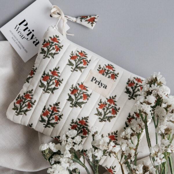 Priya Red Floral Pouch
