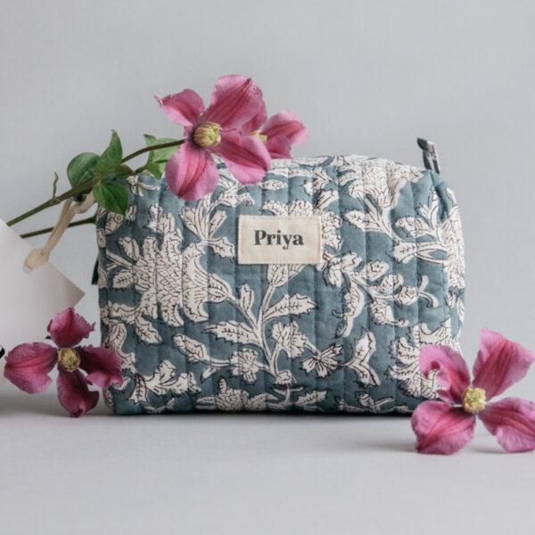 Priya Smoky Blue Small Beauty Bag