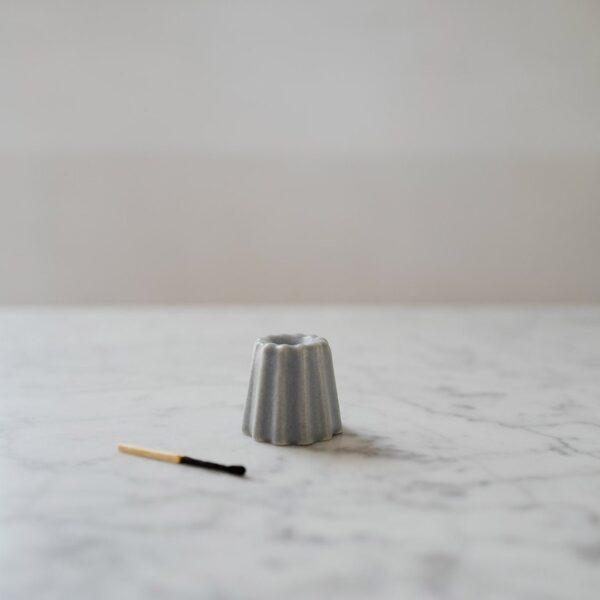 Canele Porcelain Candle Holder - Grey